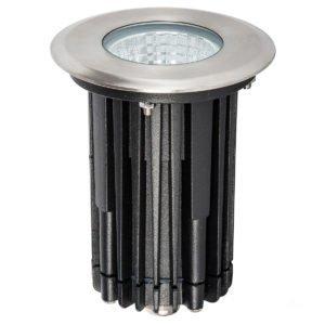 240v 7w LED Klip In-ground Uplighter Round, 100mm 316 Stainless Steel Face in 3000K