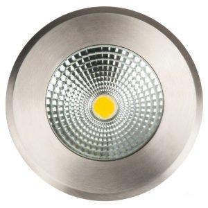 240v 10w LED Klip In-ground Uplighter Round, 160mm 316 Stainless Steel Face in 3000K