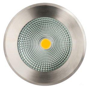 240v 20w LED Klip In-ground Uplighter Round, 213mm 316 Stainless Steel Face in 3000K