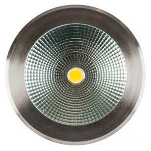 240v 30w LED Klip In-ground Uplighter Round, 260mm 316 Stainless Steel Face in 3000K
