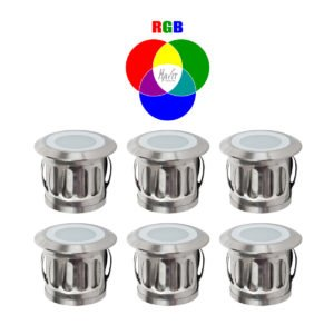 12v DC 0.5w LED Flame Mini Deck Light set of 6 IP67 316 Stainless Steel in RGB