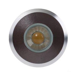 12v DC Elite 3w LED Mini Recessed Deck Light / In-ground Light Silver in 3000K