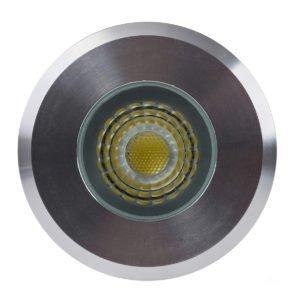 12v DC Elite 5w LED Mini Recessed Deck Light / In-ground Light Silver Aluminium in 3000K