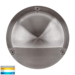 12v DC Pinta 2.3w Tri-Color LED Surface 316 Stainless Steel Mounted Step Light with Eyelid - HV2904T