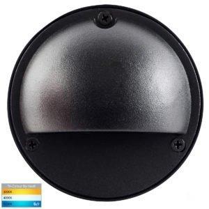 12v DC Pinta 2.3w Tri-Colour LED Surface Mounted Black Step Light with Eyelid - HV2924T