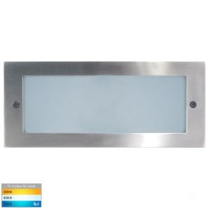 Bata Recessed DC 12v 10w LED Tri-Colour Brick Light with Plain 316 Stainless Steel Face
