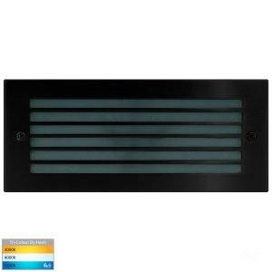 Bata Recessed DC 12v 10w LED Tri-Colour Brick Light with Grill Black Face