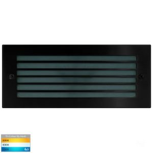 Bata Recessed 240v 10w LED Tri-Colour Brick Light with Grill Black Face