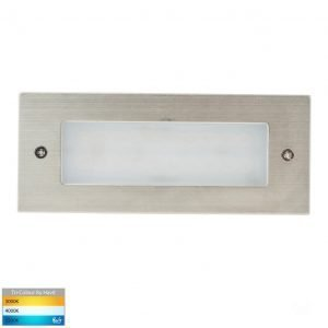 Bata Recessed DC 12v 3w LED Tri-Colour Brick Light with Plain 316 Stainless Steel Face