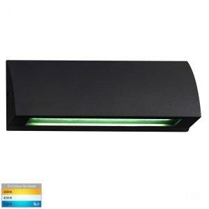 Taso 12V DC 6W LED Tri-Colour Rectangle Step Light in Matt Black