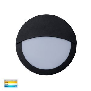 Roto 10w Tri-Color LED Black Bunker Light with Eyelid - HV36012T-BLK
