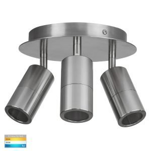 Tivah 15W 240v Tri-Colour LED Round Ceiling 3 Light Spotlight in Titanium