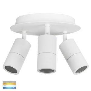 Tivah 15W 240v Tri-Colour LED Round Ceiling 3 Light Spotlight in Matt White