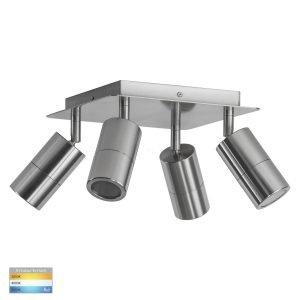 Tivah 15W 240v Tri-Colour LED Square Ceiling 4 Light Spotlight in Titanium