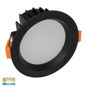 Polly 8W Dimmable CCT Matt Black Round Recessed Downlight