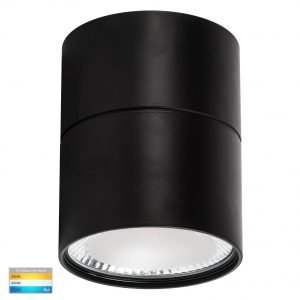 Nella 12W Dimmable CCT Matt Black Surface Mount Fixed Downlight with Extension