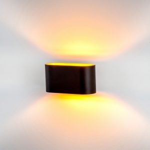 Concept Up & Down Black Wall Light with Gold insert in Cool white