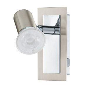 Rottelo 1 Light GU10 Adjustable Spotlight in Satin Nickel & Chrome