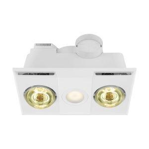 Heatflow 3 in 1 2 Heat, Exhaust Fan with 13W LED Light in White