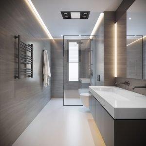 Matt Black Inferno 3-in-1 Bathroom Exhaust Fan, Heater, and LED Light