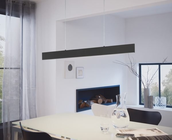 Climene 1170mm 29W Tri-Colour LED Matt Black Interior Pendant Light