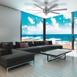 "Titanium Eglo Tourbillion 60"" 7 Blade DC Indoor/Outdoor Ceiling Fan with Remote Control"