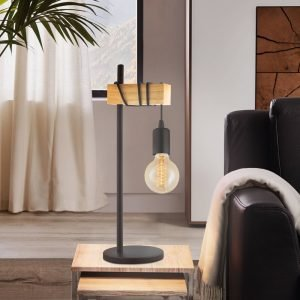 Townshend 1 Light Table Lamp in Black & Timber
