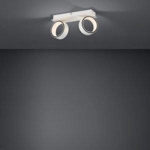 Albariza 2 Light Matt White Adjustable Round 10W LED Spot Light In Warm Light