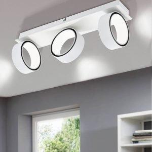 Albariza 3 Light Matt White Adjustable Round 15W LED Spot Light In Warm Light