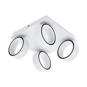 Albariza 4 Light Matt White Adjustable Round 20W LED Spot Light In Warm Light