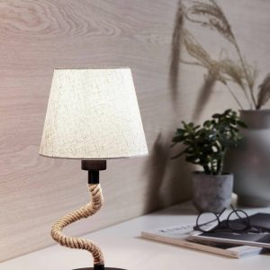 Rampside Rope Table Lamp in Black and Cream