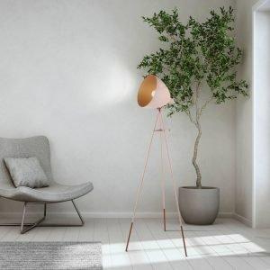 Chester 1 Light Floor Lamp Apricot & Copper
