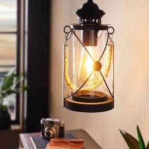 Bradford Traditional Pendant Light in Black with Rope