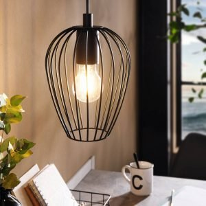 Newtown Small Vintage Wire Cage Pendant Light in Black
